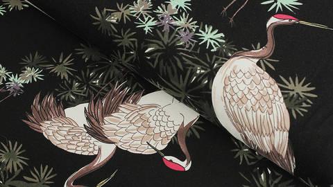 Baumwolljersey schwarz: Avalana Kranich - 162 cm im Makerist Materialshop