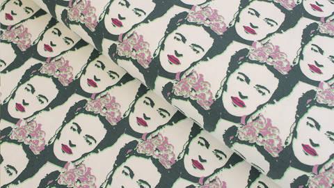 Baumwolljersey offwhite grün lila: Frida Kahlo - 150 cm im Makerist Materialshop