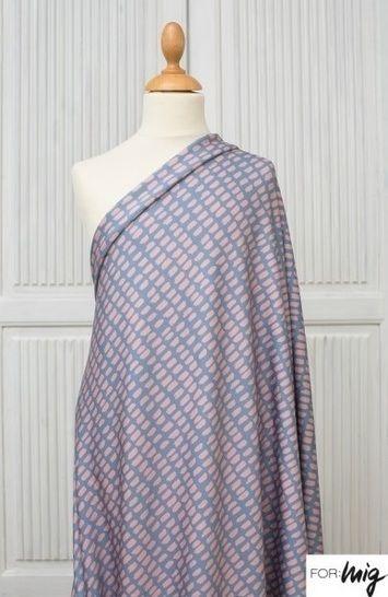 Lillestoff Modalsweat graublau-pastellrosa: Stripe Stripe - 150 cm im Makerist Materialshop - Bild 1