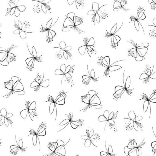 Modalstoff-Jersey Curly Butterflies von Hanabi - weiß/schwarz im Makerist Materialshop - Bild 1