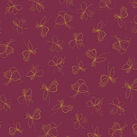Modalstoff-Jersey Curly Butterflies von Hanabi - berry/ocker im Makerist Materialshop - Bild 1
