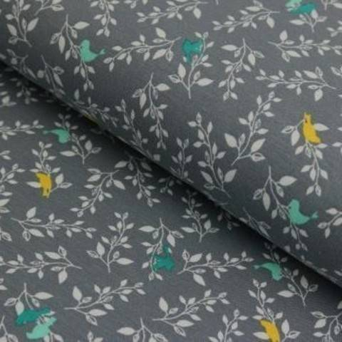 Viskosejersey grau von Hanabi: Birdlife - 150 cm im Makerist Materialshop