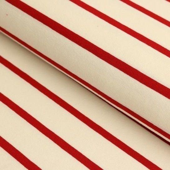 Viskosejersey weiß rot von Hanabi: Stripe - 150 cm im Makerist Materialshop - Bild 1