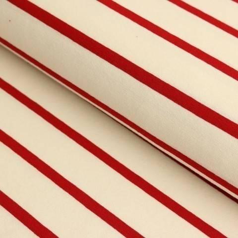 Viskosejersey weiß rot von Hanabi: Stripe - 150 cm im Makerist Materialshop