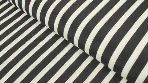 Ramie-Mischgewebestoff schwarz-weiß: Streifen - 130 cm  im Makerist Materialshop