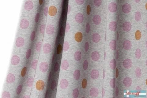 Lillestoff Bio-Jersey hellgrau meliert: Minidots rosa - 160 cm im Makerist Materialshop