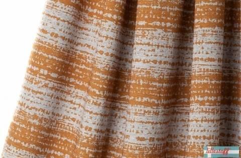 Lillestoff Bio-Jersey meliert: Blockstreifen brüchig senfgrau - 160 cm im Makerist Materialshop