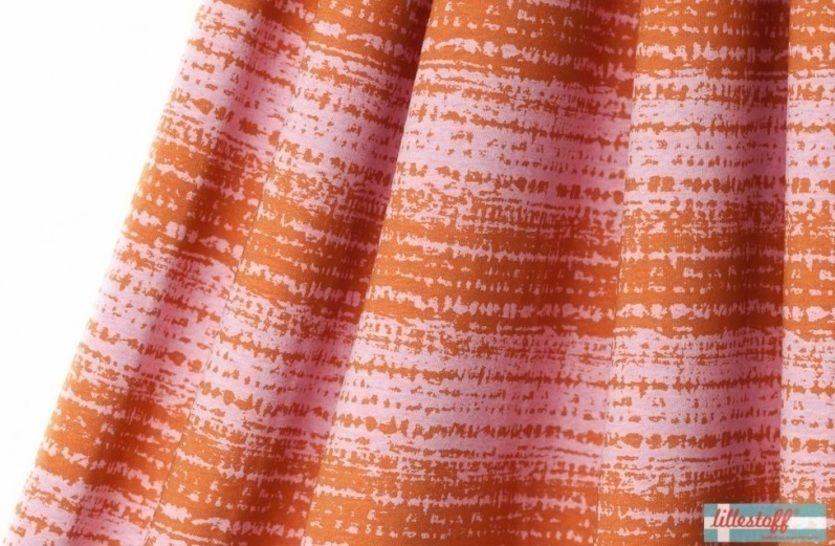 Lillestoff Bio-Jersey meliert: Blockstreifen brüchig senfrosa - 160 cm im Makerist Materialshop - Bild 1