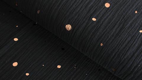 Musselin Baumwollstoff schwarz: Kupfer Punkte - 135 cm im Makerist Materialshop