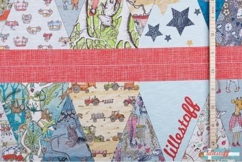 Lillestoff Rapport Slub Jersey: Kunterbunte Wimpelkette - 140 cm im Makerist Materialshop