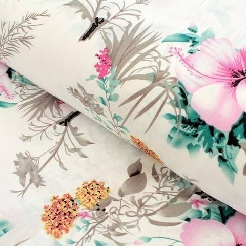 Viskosestoff weiß: Hibiskus - 150 cm im Makerist Materialshop