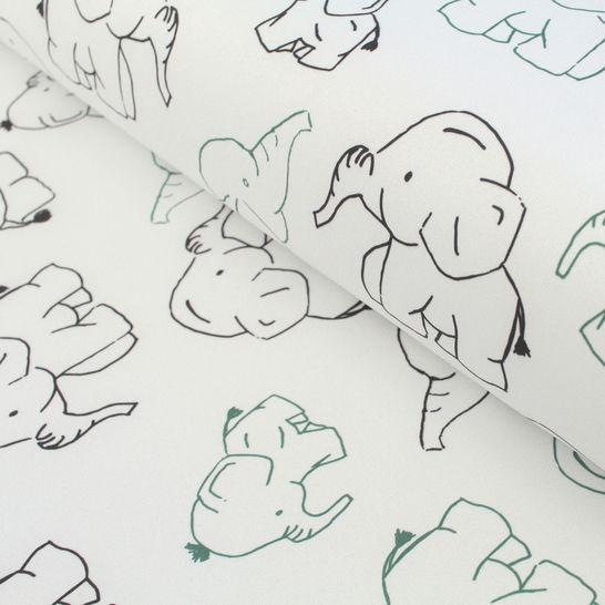 Softshell hellgrau-petrol: Elefanten - 145 cm im Makerist Materialshop - Bild 1