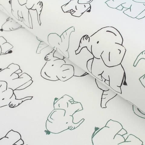 Softshell hellgrau-petrol: Elefanten - 145 cm im Makerist Materialshop