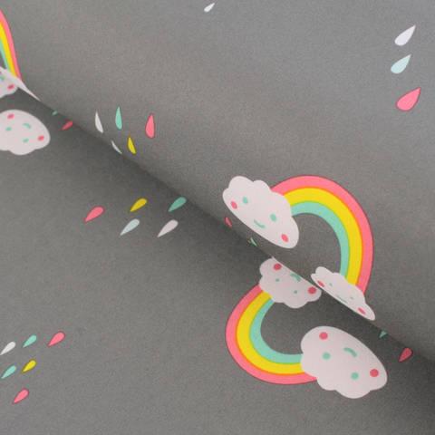 Softshell grau-rosa: Regenbogenwölkchen - 145 cm im Makerist Materialshop