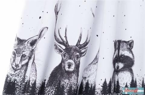 Lillestoff Rapport Bio-Summersweat weiß-schwarz: Waldtiere - 160 cm  im Makerist Materialshop
