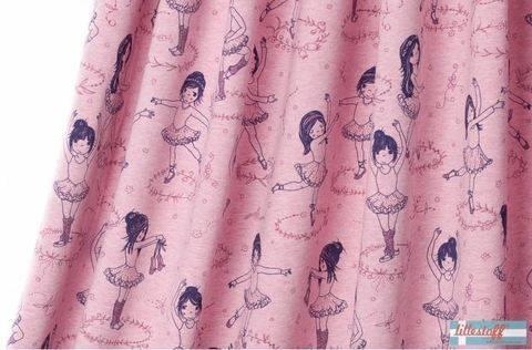 Lillestoff Bio-Jersey meliert rosa: Ballettmädchen - 160 cm im Makerist Materialshop