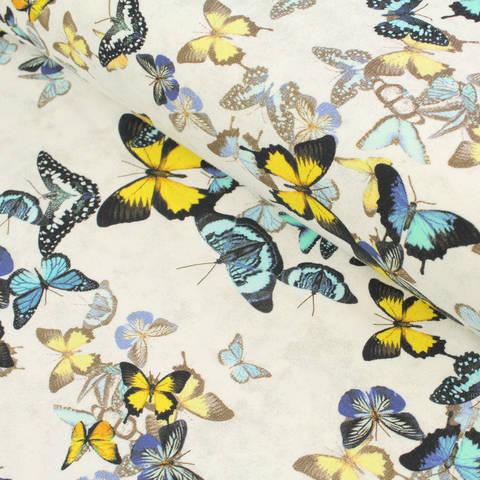 Baumwolljersey weiß-grau: Avalana Schmetterlinge - 162 cm im Makerist Materialshop