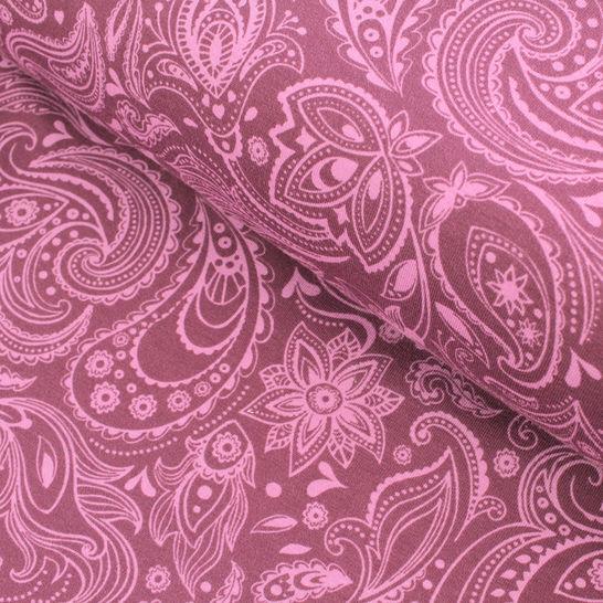 Baumwolljersey bordeaux-rosa: Avalana Paisley  - 162 cm im Makerist Materialshop - Bild 1