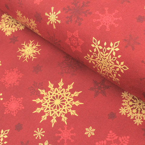 Baumwollstoff rot-gold: Christmas Wonders - 112 cm im Makerist Materialshop