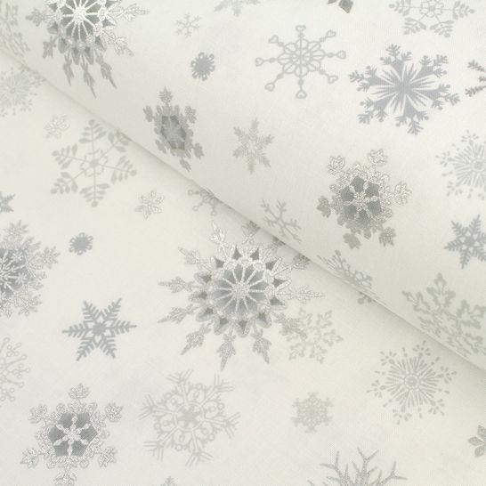 Baumwollstoff weiß-silber: Christmas Wonders - 112 cm im Makerist Materialshop - Bild 1