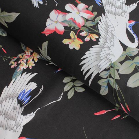 Viskosestoff schwarz: Kraniche - 150 cm im Makerist Materialshop