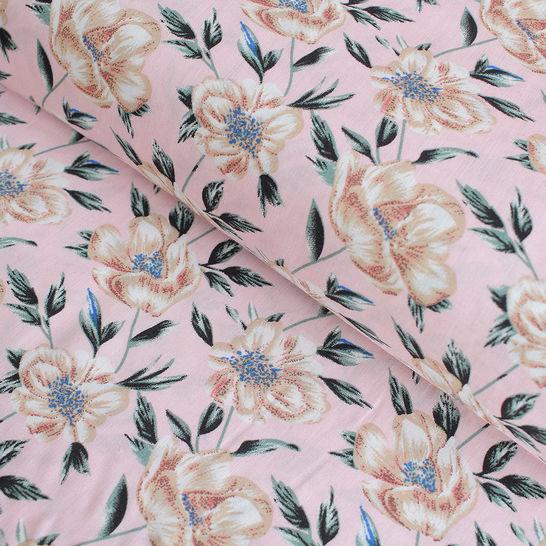 Viskosestoff rosa: Goldene Blüten - 150 cm im Makerist Materialshop - Bild 1
