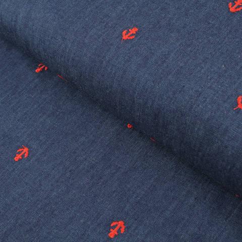 Jeansstoff blau: Rote Anker - 142 cm  im Makerist Materialshop