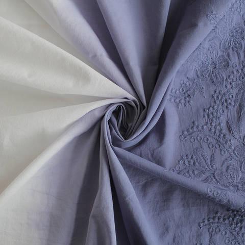 Baumwollstoff blau-weiß Farbverlauf: Stickerei - 130 cm im Makerist Materialshop