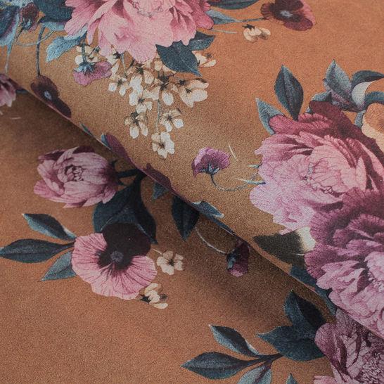 Velours-Lederimitat braun: Blumen - 150 cm im Makerist Materialshop - Bild 1