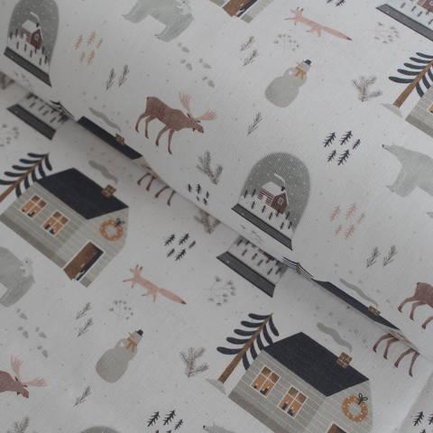 Baumwollstoff weiß: Winterweld - 150 cm im Makerist Materialshop