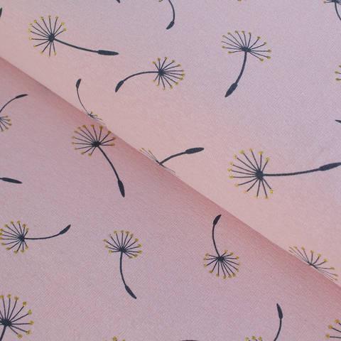 Sweatstoff rosa: Glitzer Pusteblumen - 150 cm im Makerist Materialshop