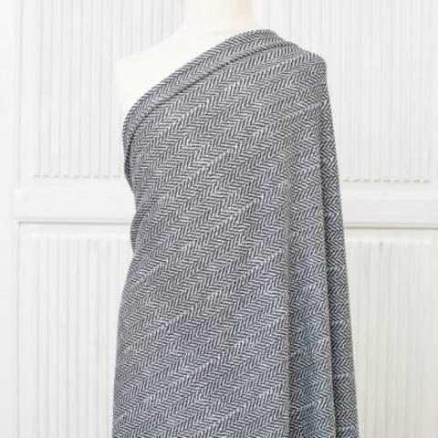 Lillestoff Modalsweat schwarz-weiß: Fischgrät - 150 cm im Makerist Materialshop