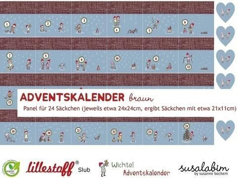 Lillestoff Rapport Slubjersey: Adventskalender braun - 140 cm  im Makerist Materialshop