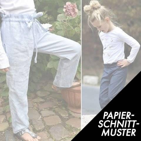 Gedrucktes Schnittmuster für: Papiertüte Paperbag-Hose kids&teens 122–176 Schnitt im Makerist Materialshop