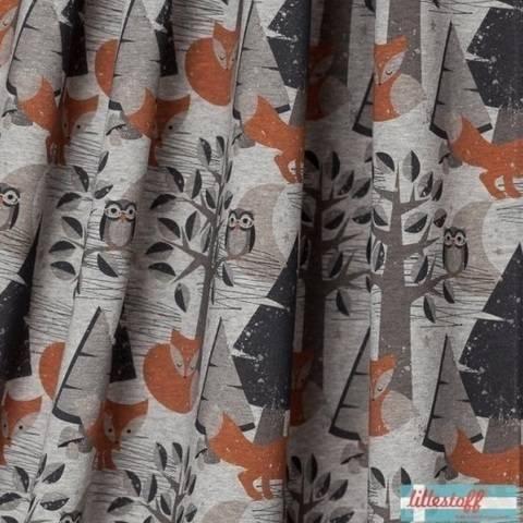 Lillestoff Bio-Jersey grau meliert: Nightfox - 150 cm im Makerist Materialshop