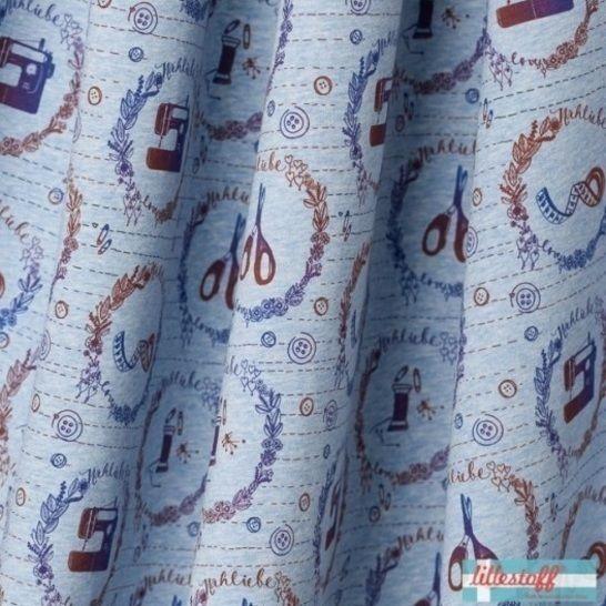 Lillestoff Bio-Jersey blau-meliert: Nähfee - 150 cm im Makerist Materialshop - Bild 1