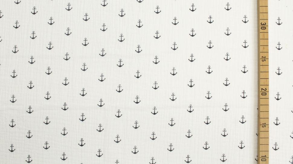 Mousseline de coton double gaze blanche: ancres - 132cm dans la mercerie Makerist - Image 2