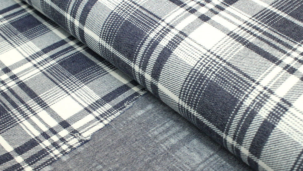 Baumwollstoff dunkelblau-weiß: Denim Karomuster - 145 cm im Makerist Materialshop - Bild 2