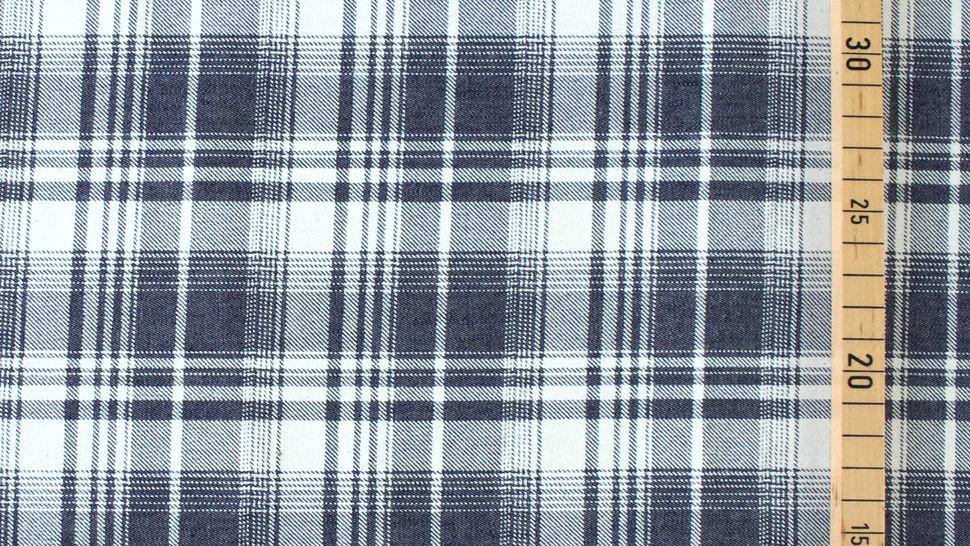 Baumwollstoff dunkelblau-weiß: Denim Karomuster - 145 cm im Makerist Materialshop - Bild 3