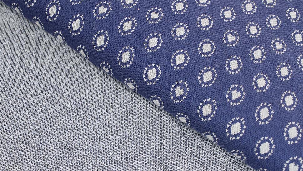 Jacquardstoff dunkelblau: Avalana Herzen und Kreise - 160 cm im Makerist Materialshop - Bild 2