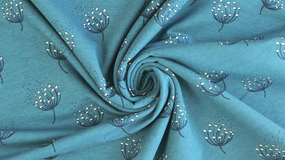 Tissu en sweat bleu Avalana imprimé pissenlits  -160 cm dans la mercerie Makerist - Image 5