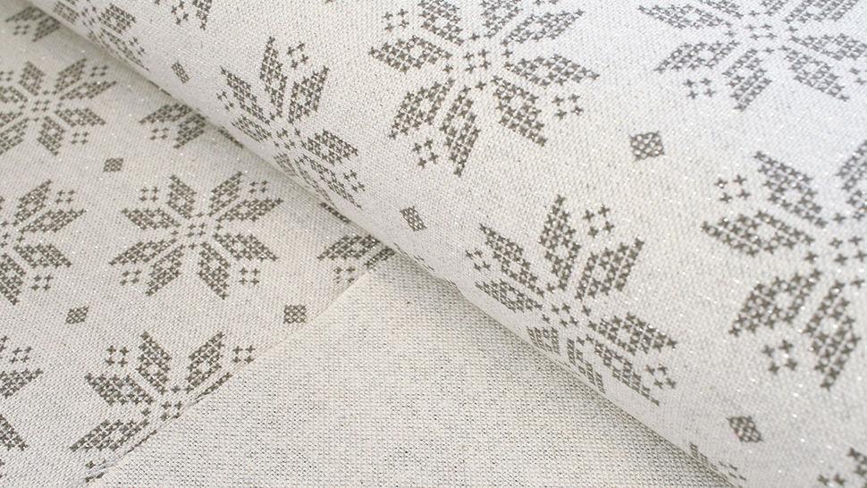 Baumwoll-Mischgewebestoff natur Leinenoptik: Glitzer Schneekristalle - 155 cm im Makerist Materialshop - Bild 2