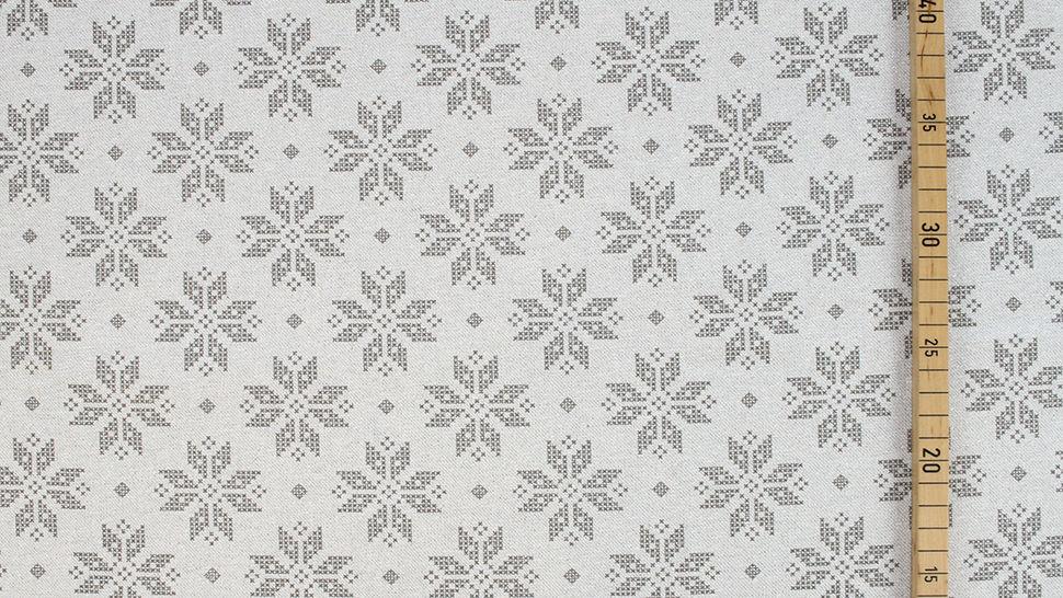 Baumwoll-Mischgewebestoff natur Leinenoptik: Glitzer Schneekristalle - 155 cm im Makerist Materialshop - Bild 3