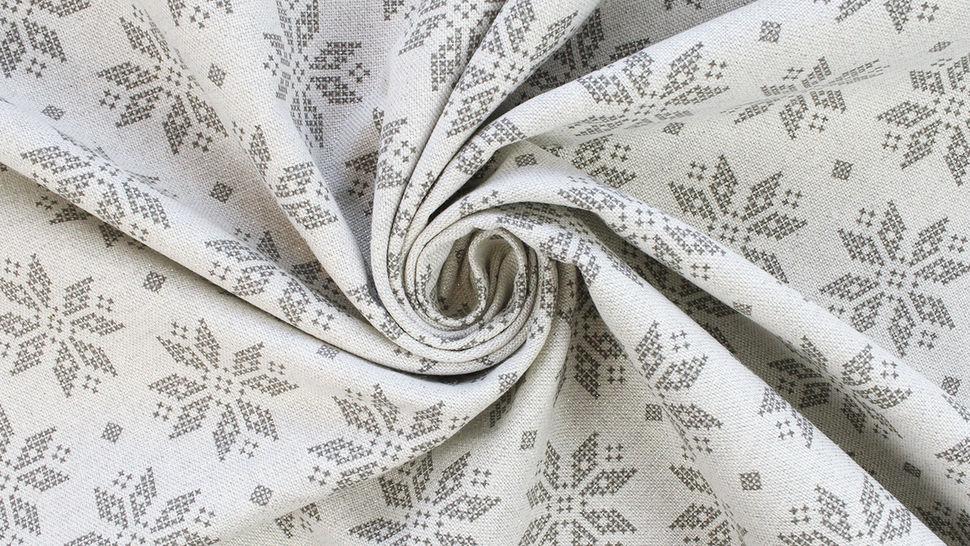Baumwoll-Mischgewebestoff natur Leinenoptik: Glitzer Schneekristalle - 155 cm im Makerist Materialshop - Bild 4
