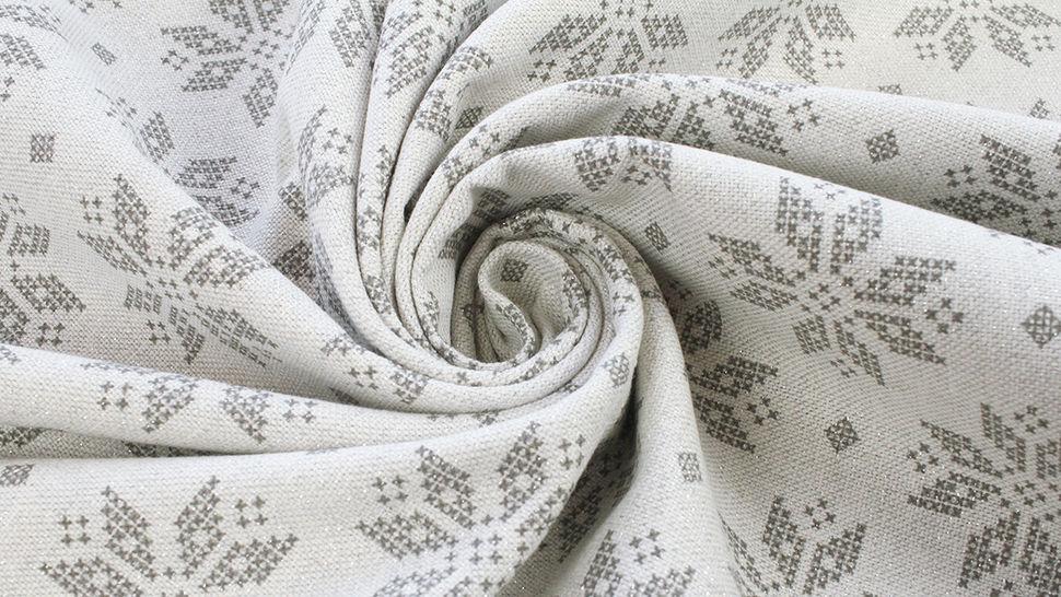 Baumwoll-Mischgewebestoff natur Leinenoptik: Glitzer Schneekristalle - 155 cm im Makerist Materialshop - Bild 5