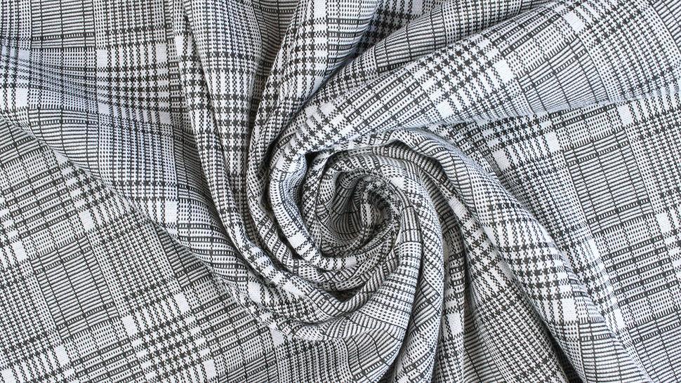 Elastischer Blazerstoff schwarz-weiß kariert: Check Stanford Black - 150 cm im Makerist Materialshop - Bild 3