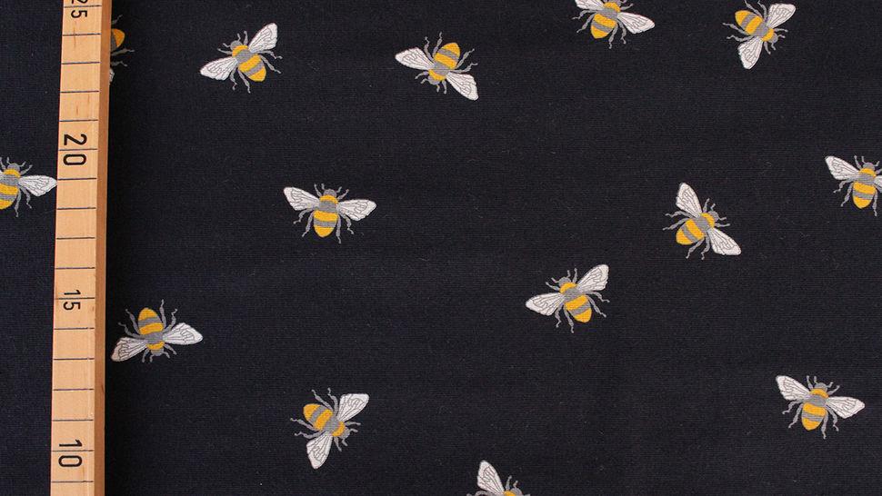 Baumwolljersey navy: Bienen - 145 cm im Makerist Materialshop - Bild 3
