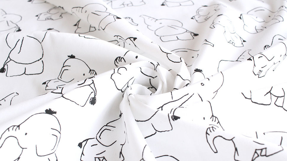Baumwollstoff Popeline weiß: Elefanten - 145 cm im Makerist Materialshop - Bild 5