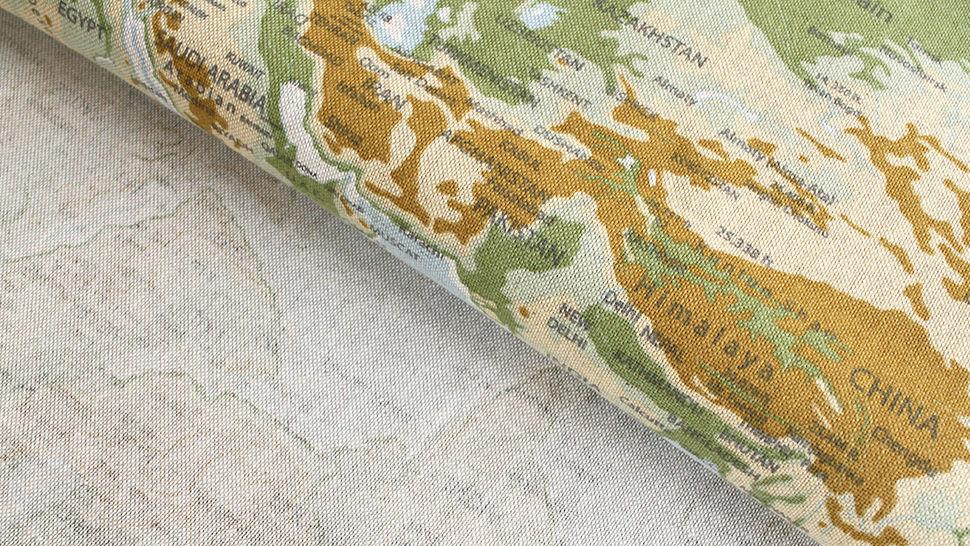 Tissu en coton mélangé bleu-vert clair: carte du monde - 140 cm dans la mercerie Makerist - Image 2