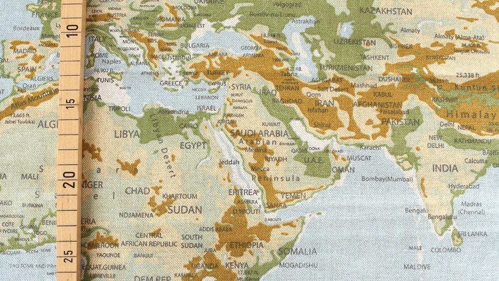 Tissu en coton mélangé bleu-vert clair: carte du monde - 140 cm dans la mercerie Makerist - Image 3